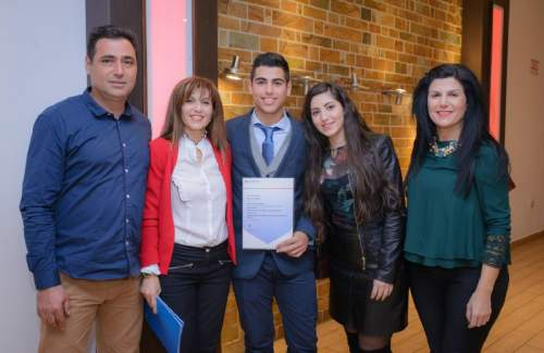 Erodotos Terpizis with proud family members at the Outstanding Cambridge Learners Awards Ceremony in Cyprus.