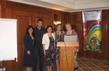 (from left to right) Mrs Felicia Szabo (CCD Cluj), Mr Argiris Tzikopoulos (Ellinogermaniki Agogi), Mrs Dorina Kudor (CCD Cluj), Mrs Chryso Christodoulou (Digipro Computer Consultants) and Meedi Neeme (Rocca Al Mare School)