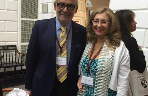 Mrs. Chryso at Harvard with Marcelo Suarez-Orozco Dean and Distinguished Professor of Education at UCLA