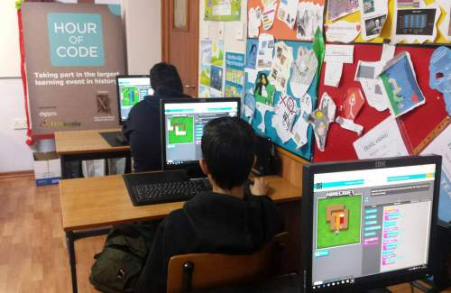 #HourOfCode session underway at XTMPI Limassol, supported by team FUNecole . Grades 8-10 tackling Minecraft challenges