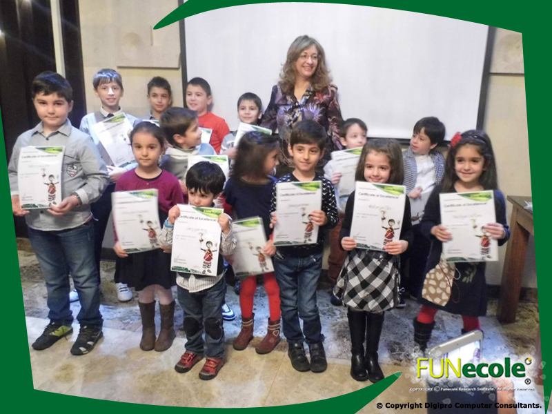 Mrs Christodoulou presented the 5 - 7 year old Starlet pupils with their certificates